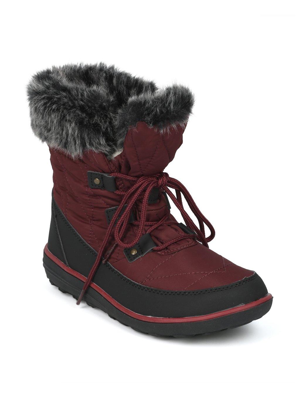 Alrisco Faux Fur Trim Lace up Outdoor Winter Boot HG06 B078MPQ5GM 7.5 M US|Wine Mix Media