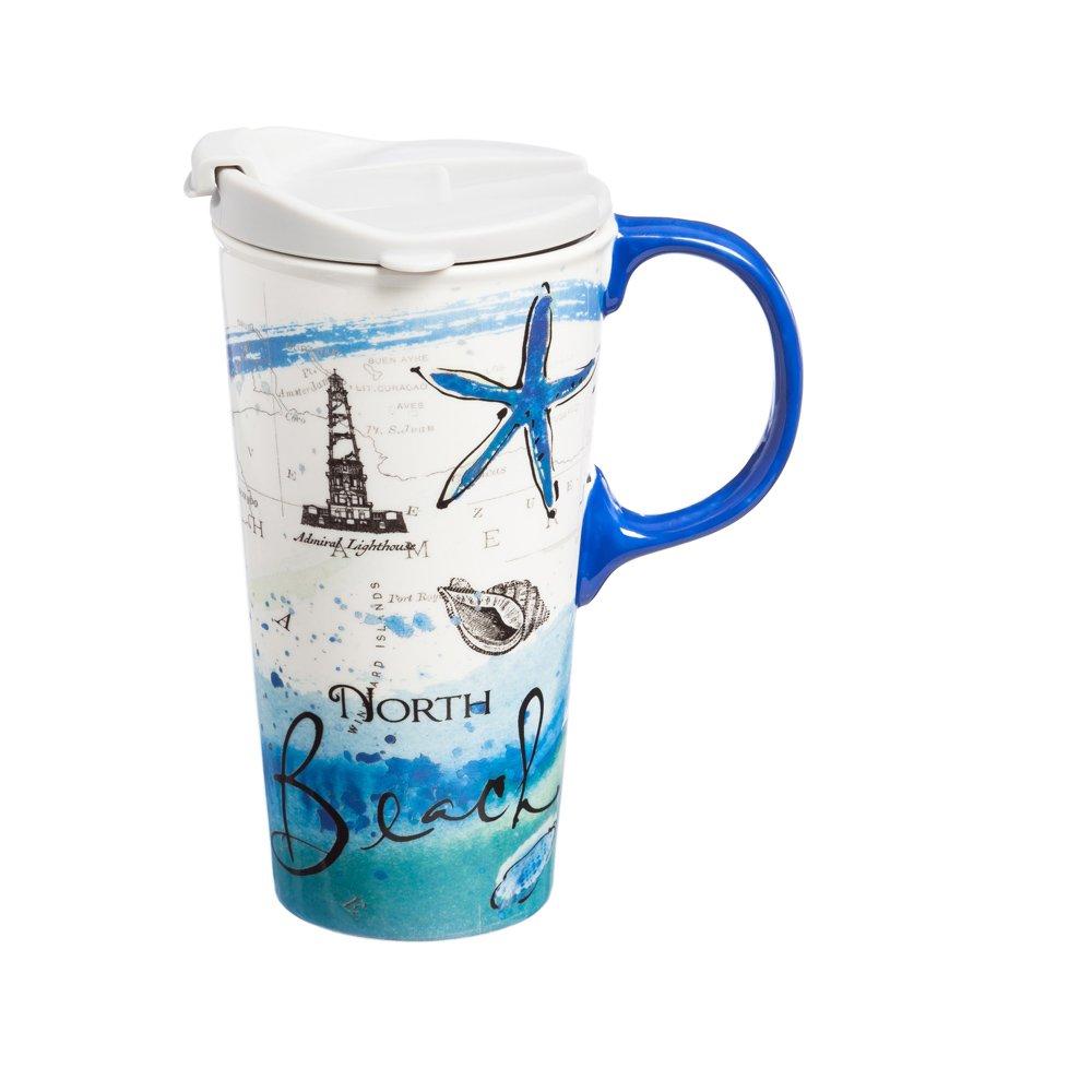 Cypress Home North Beach Ceramic Travel Coffee Mug, 17 ounces