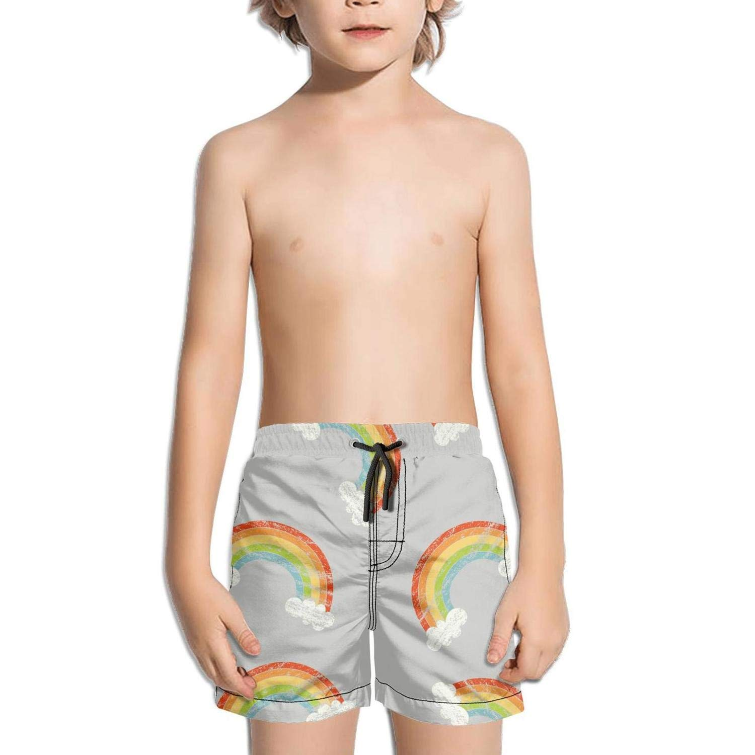 Boys Quick Dry Beach Board Shorts Rainbow Colors Montauk Stripes with Mesh Lining