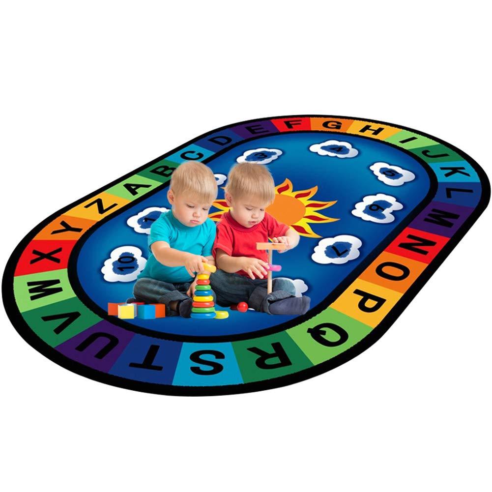 LISIBOOO Cartoon Anti-Skid Kids Area Rugs,ABC with Numbers,Oval Child Large Carpet,for Boys Girls Babies Playroom Bedroom Study Room Nursery Living Room Bathroom (4'7''x7'6'', Cloud-Sky)