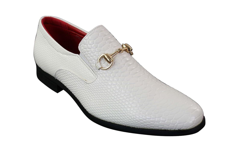 Chaussures simili cuir serpent crocodile /à enfiler brillantes vernies noir boucle dor/ée homme