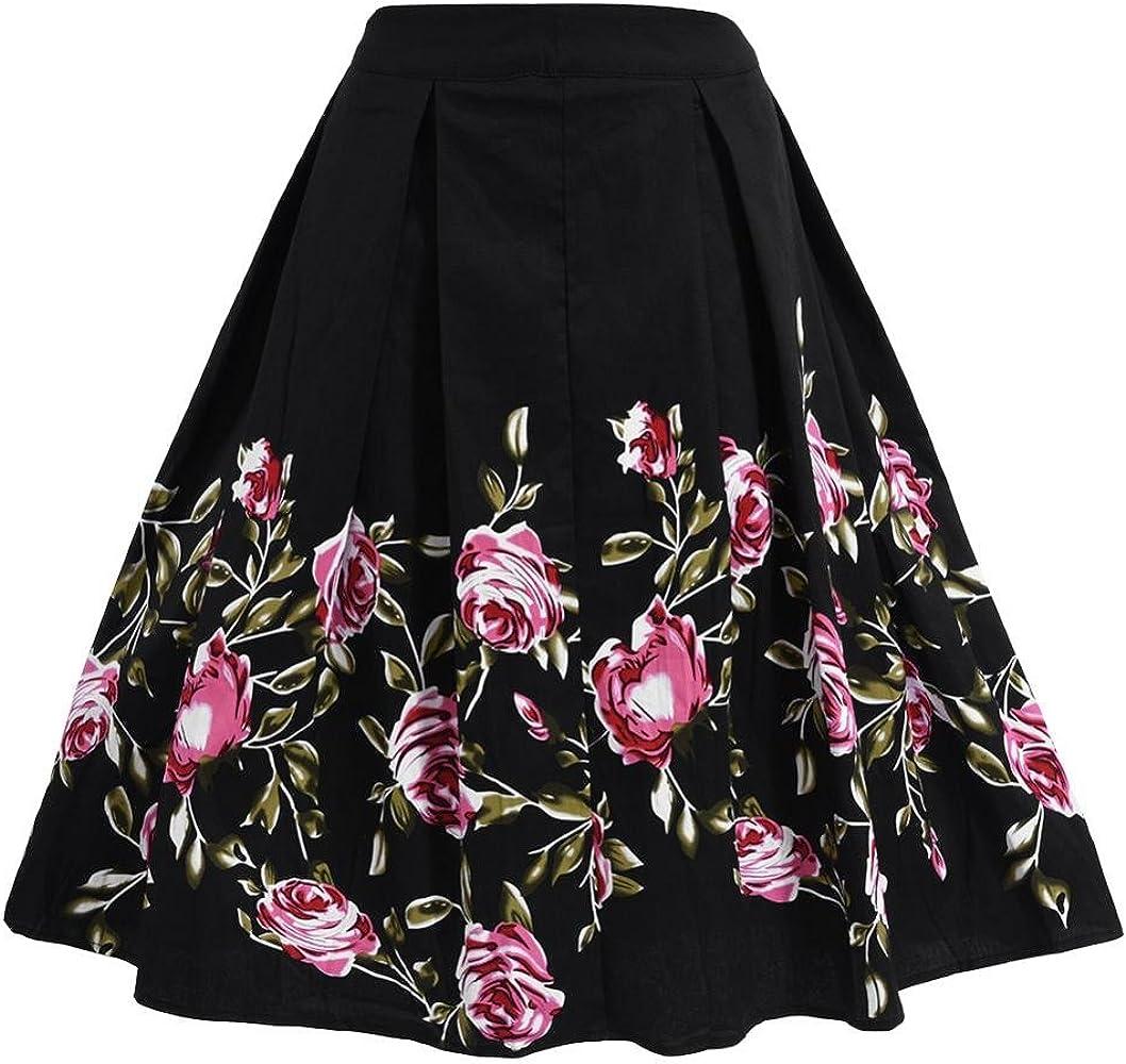 FTVOGUE Falda Midi Plisada con Estampado Floral Vintage de Cintura ...