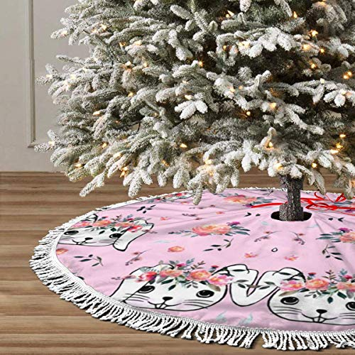 JIAQI11 Easter Bunny Christmas Tree Skirts 48inches,Xmas Party Holiday Decorations,The Perfect, 3 Kinds of Size