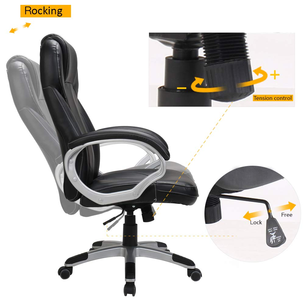 LasVillas Ergonomic PU Leather High Back Executive Office Chair with Adjustable Height, Computer Chair Desk Chair Task Chair Swivel Chair Guest Chair Reception Chairs ... (Black) by LasVillas (Image #5)
