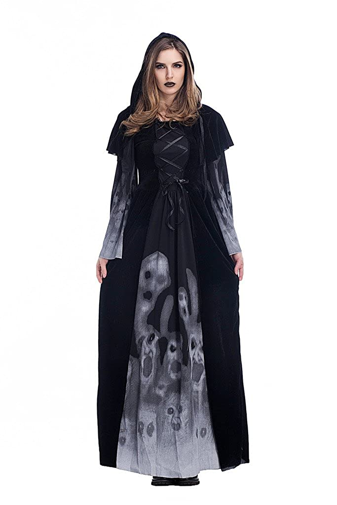 d9a14d29bbb Amazon.com  Coser Park Women s Witch Vampire Costume Skeleton Printing  Black Long Dress  Clothing