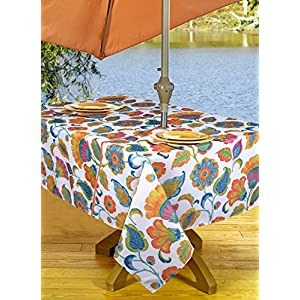 High Quality Outdoor Tablecloths Umbrella Hole With Zipper Patio Tablecloth, Stain Resistant, Spill Proof, Shrink Resistant, Iron-Free, Beauty and Performance (Round 60'', Orange Flowers)
