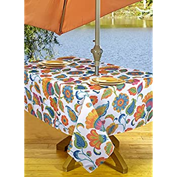 High Quality Outdoor Tablecloths Umbrella Hole With Zipper Patio Tablecloth,  Stain Resistant, Spill Proof
