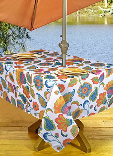 High Quality Outdoor Tablecloths, Umbrella Hole With Zipper Patio Tablecloth, Stain Resistant, Spill Proof, Shrink Resistant, Iron-Free, Beauty and Performance (54'' x 72'', Orange Flowers)