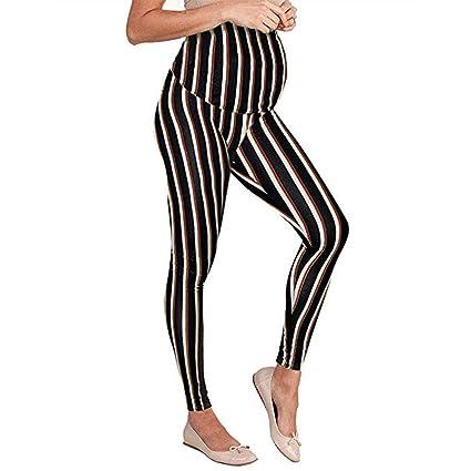 ae1edcd0e8b2de EnjoCho S-3XL Women's Maternity Leggings Seamless Stripe Floral Pants  Stretch Pregnancy Trousers for Pregnant