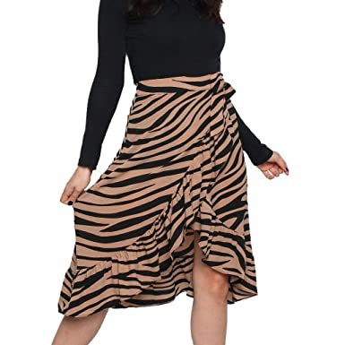 3c406603eb Rosatro Women Skirt, Womens Ladies High Fashion Asymmetrical Tie Bow Animal  Print Ruffle Hem Loose Fit Frill Wrap Midi Skirt A-line for Ladies Palazzo  ...