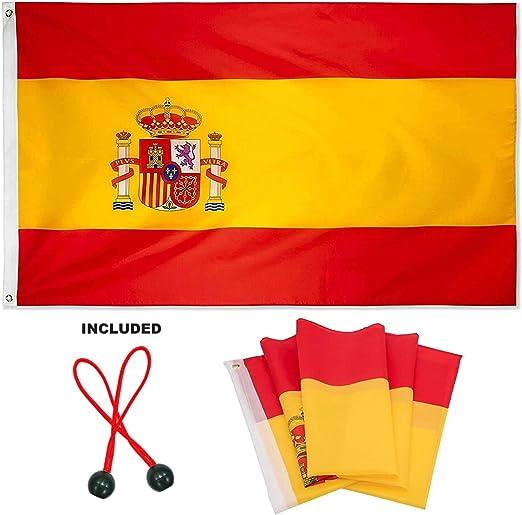 Proxoom. Bandera de España Grande 150 x 90 cm. Colores AUTÉNTICOS CMYK, Vivos y Resistente UV. Polyester. Bordes Reforzados Doble Costura. Incluye 2 Accesorios para Montaje balcón y mástil.: Amazon.es: Jardín