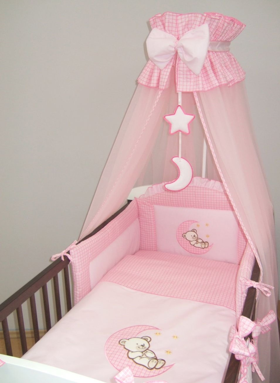 3 Piece Baby Bedding Set (To Fit Cot or Cot Bed) Embroidered - MOON (COT BED 140 x 70cm, Pink) Babycomfort