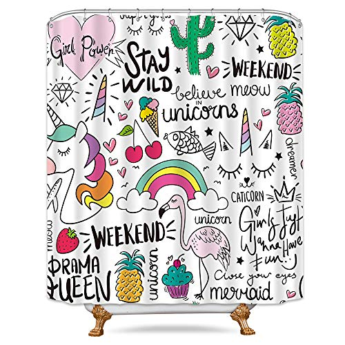 (Riyidecor Unicorn Shower Curtain Graffiti Girl Rainbow 12 Plastic Hooks Kids Cartoon Flamingo Cactus Pineapple Decor Bathroom Set Fabric Polyester Waterproof 72x96 Inch Cute)