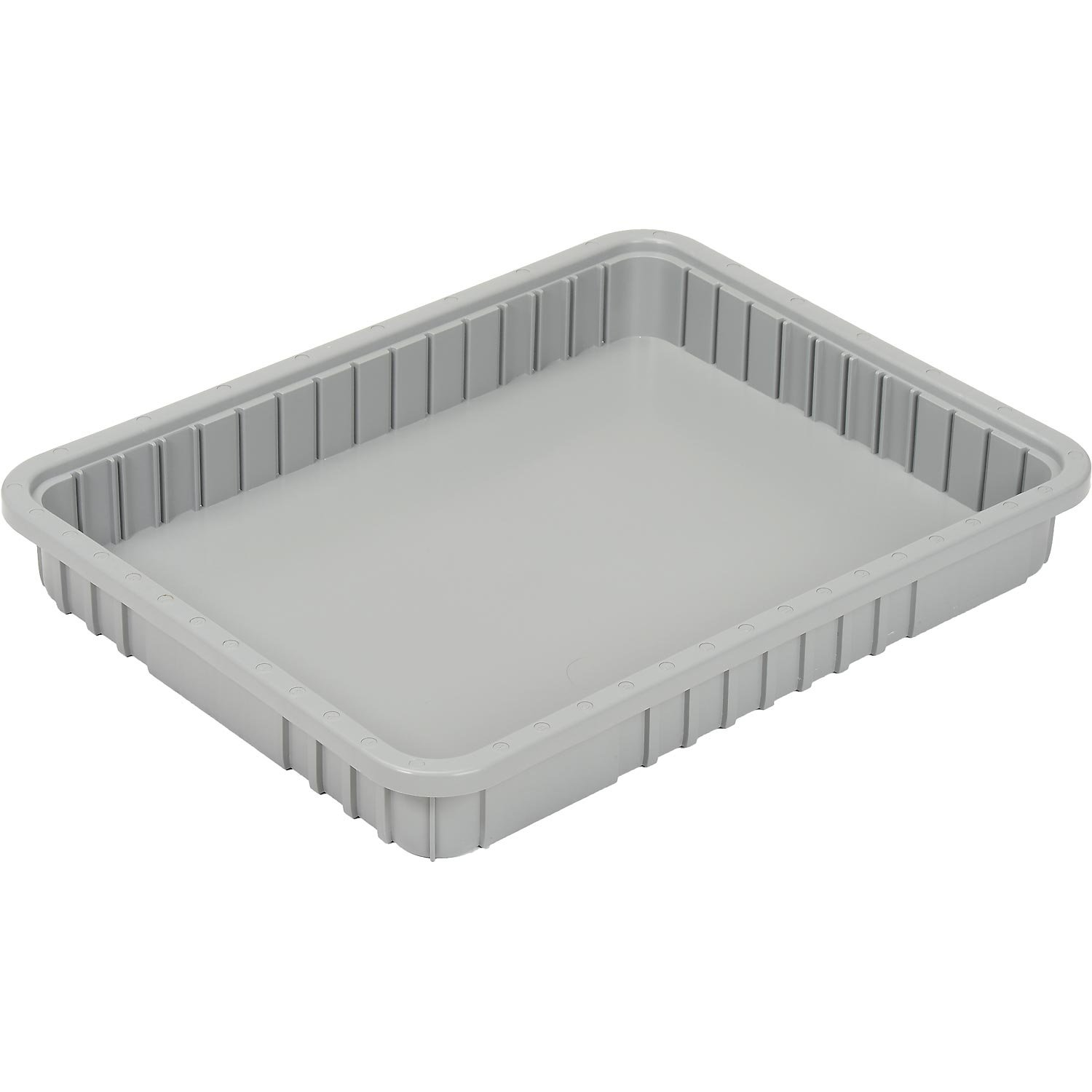Plastic Dividable Grid Container, 22-1/2''L x 17-1/2''W x 3''H, Gray - Lot of 6 by Quantum