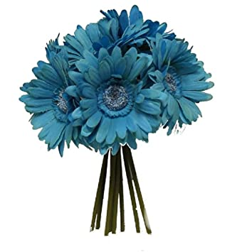 Amazon gerbera daisy bouquet turquoise blue silk flowers gerbera daisy bouquet turquoise blue silk flowers wedding bridal centerpieces mightylinksfo