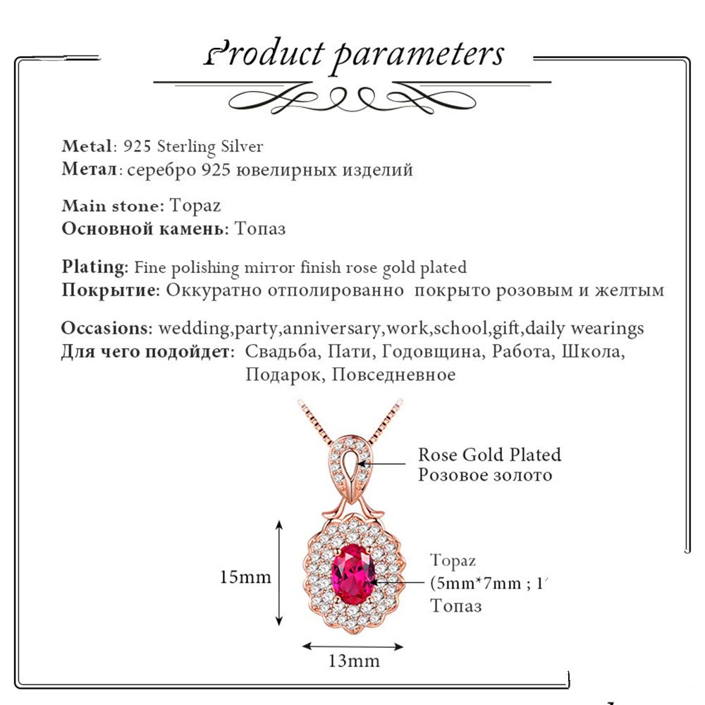 GLEENECKLAC 925 Sterling Silver Natural Red Topaz Plant shape Charm Pendant Rose Gold Color for Engagement Jewelry for Women Box