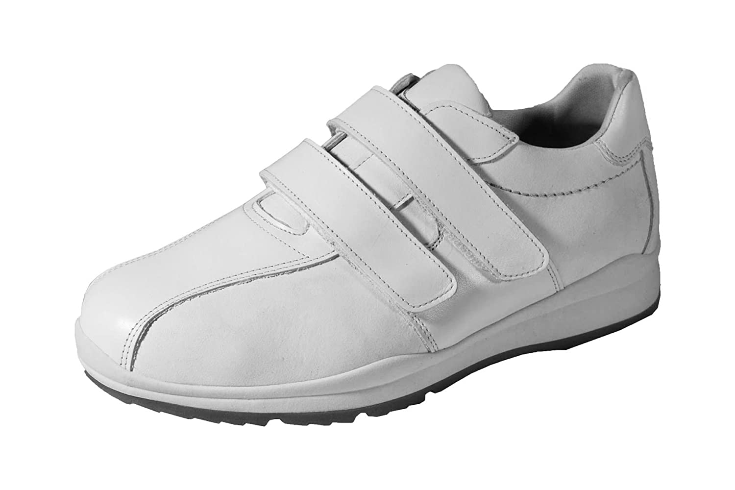 817b5f310b9b1 Db Shoes DB's Men's Extra Wide Twin Stripe Velcro Trainers in White ...