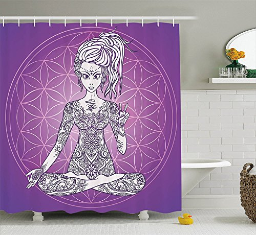 [Psychedelic Decor Collection Sexy Girl with Floral Tattoos on Her Body Meditating in Lotus Pose Bohemian Style Polyester Fabric Bathroom Shower Curtain Set with Hooks Purple White] (Shell Soon See Her Feet)