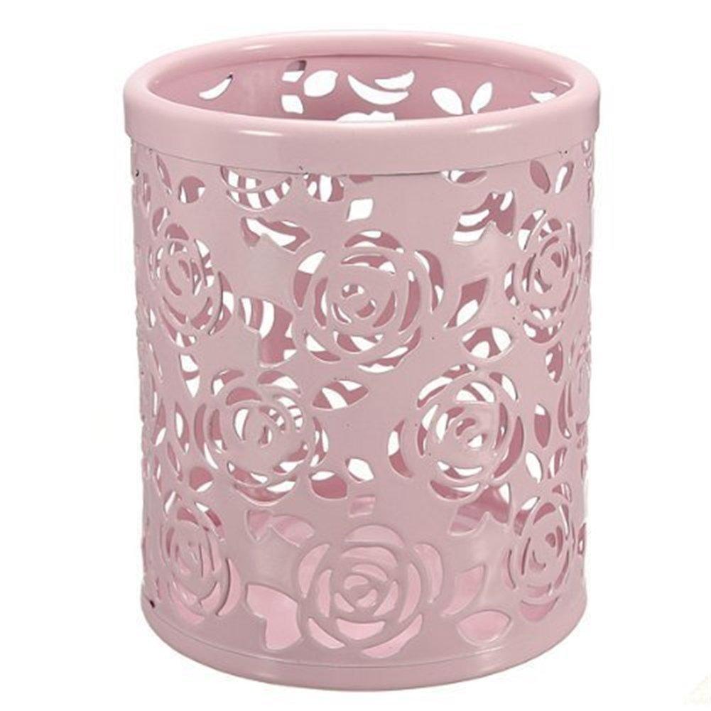 sungpunet hueco patrón de flor de Rose Cilindro Pen Lápiz Pot Holder Container organizador suministros de oficina PHT