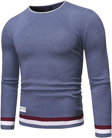 beautyjourney Jersey de Punto con Cuello Redondo para Hombre Jersey de Punto Fino Suéter de Invierno de Manga Larga Informal Camisa básica Delgada elástica Jersey de Manga Larga: Amazon.es: Ropa y accesorios