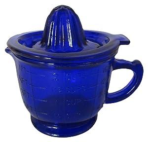 Cobalt Blue Glass Juicer Reamer Graduated Measuring Cup
