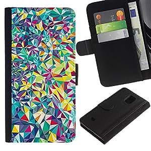 Be Good Phone Accessory // Caso del tirón Billetera de Cuero Titular de la tarjeta Carcasa Funda de Protección para Samsung Galaxy S5 Mini, SM-G800, NOT S5 REGULAR! // Lines Android