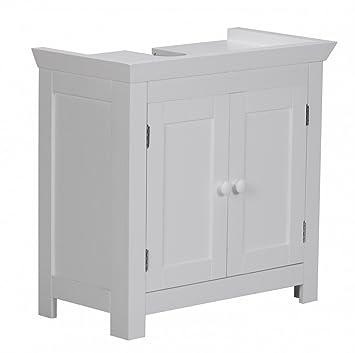Waschbeckenunterschrank stehend  Waschbeckenunterschrank Holz Weiß 57 x 30 x 55 cm | Badregal mit ...