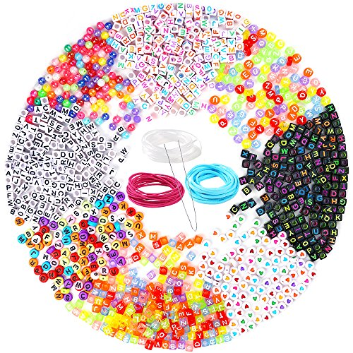 PP OPOUNT 1200 Pieces 6 Styles Letter Beads Acrylic Alphabet A-Z Cube and 2 Styles Round Beads with 3 Roll Elastic String Cord and 1 Piece Beading Needles for Necklace, Bracelet, Jewelry Making ()