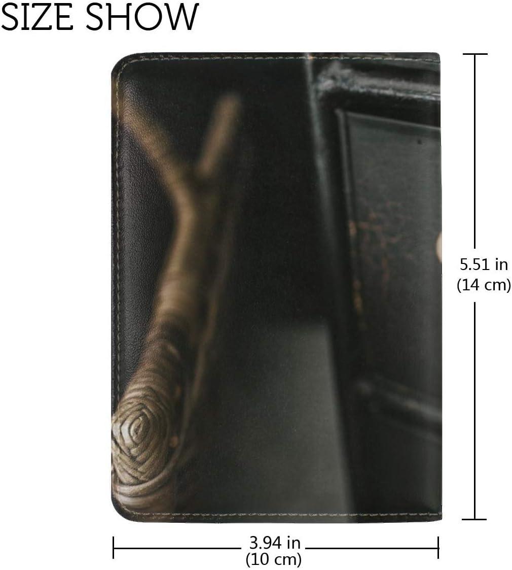 Cabinet Wooden Black Leather Passport Holder Cover Case Travel One Pocket