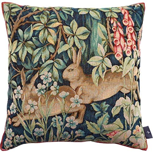ART DE LYS Woven French Tapestry Cushion/Pillow Cover, Two Hares/Rabbits in The Forest (Wm. Morris), 14 Inch x 14 Inch, Imported
