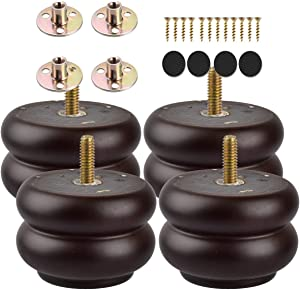3 inch / 7cm Wooden Furniture Legs, La Vane 4PCS Dark Walnut Round M8 Soild Wood Replacement Bun Feet with Pre-Drilled 5/16 Inch Bolt & Mounting Plate & Screws for Sofa Ottoman Cabinet Table
