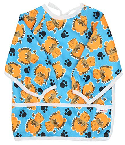 Pikababy Long Sleeved Bib Waterproof Bibs with Pocket - 6 to 24 Months Baby Girl and boy Colors (Paw)