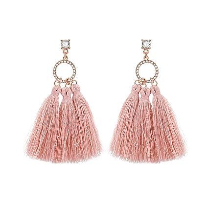 ea02ed00f Amazon.com: gu6uesa8n Boho Pink Long Tassel Earrings for Women Girls Hollow  Circle Dangle Hoop Earring Drop Earrings Jewelry: Home & Kitchen