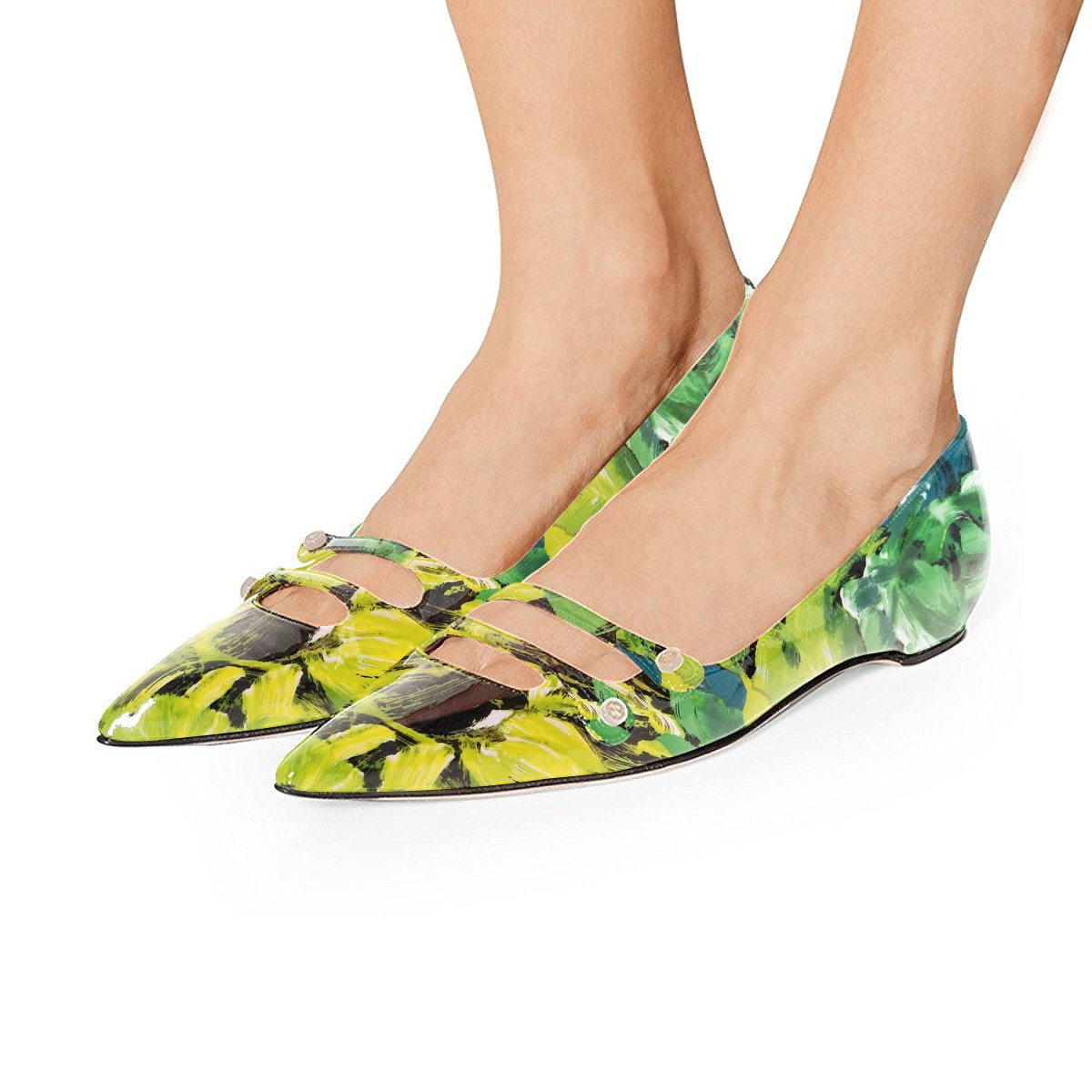 YDN Women Pointed Toe Slip on Flats Hidden Low Heels Pumps Comfort Shoes with Straps B07F88SZBF 15 M US|Green Floral