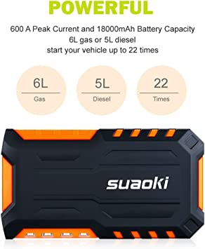 Suaoki G7 18000mAh Jump Starter G7 Orange: Amazon.es: Coche y moto