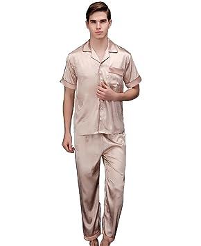 Pakamo Hombres Primavera y verano Traje de cuello de manga corta + pantalones Peonía de pato