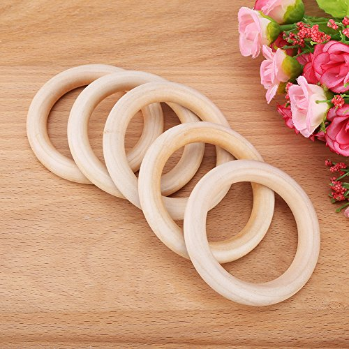 10pcs Wood Teething Rings, Natural Wooden Round Ring Without Paint Smooth Unfinished Wood Circles for Crafts DIY Baby Teething Ring, Jewelry Pendant Connectors(70mm)