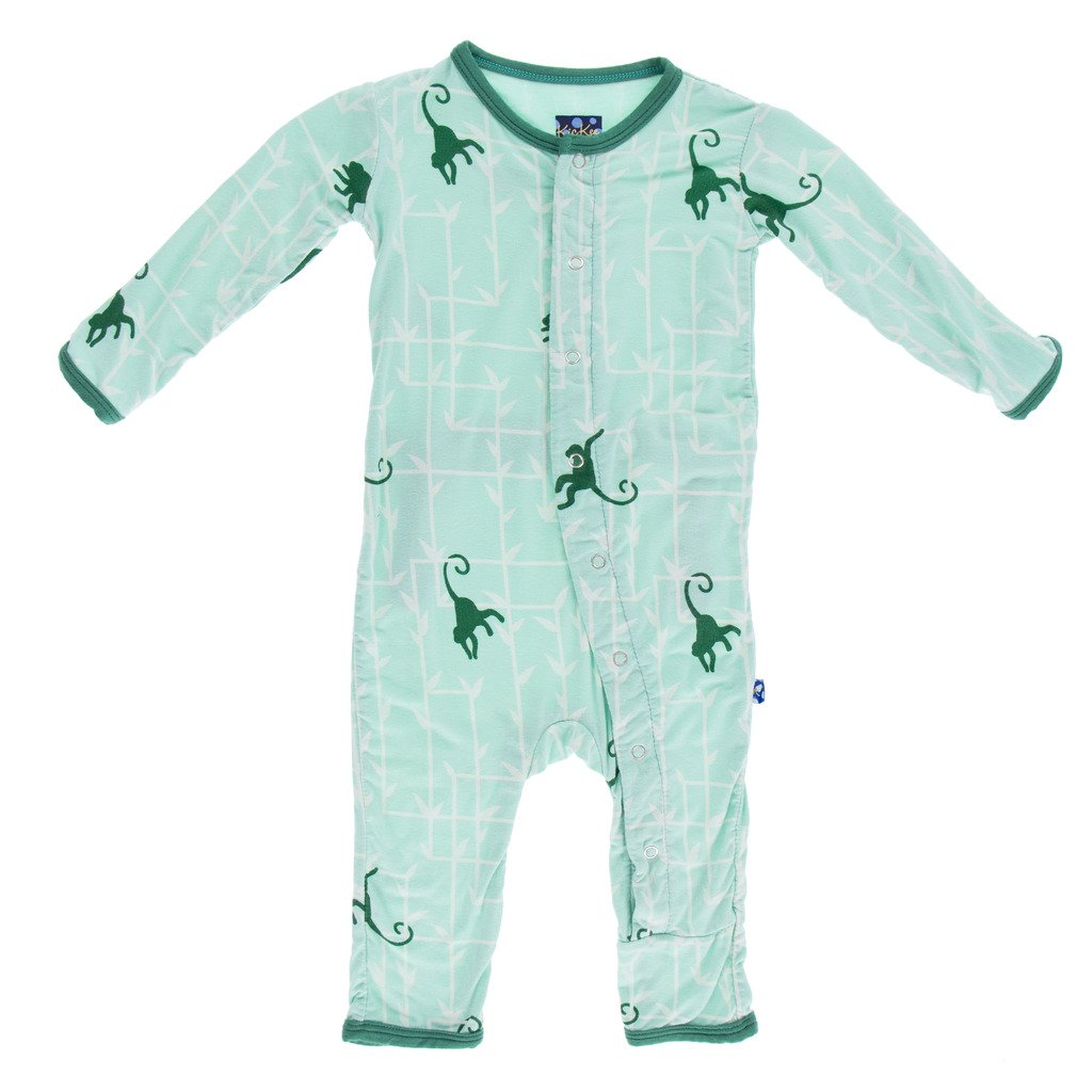 Kickee Pants Baby Boys' Print Coverall Prd-kpca213-Gfm, Glass Forest Monkey, 18-24 Months