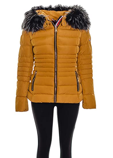 Women/'s Hooded Jacket Quilted Padded Puffer Fur Collar Warm Winter Parka Coat