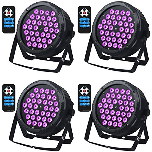 36 Leds Black Lights with IR, Missyee Sound Activated and DMX Par Can Wash UV Lighting for Home Party Disco DJ Pub Club Stage Dance Floor Show(4 packs)