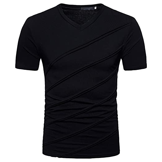 8d40c9a2da1 WYTong Men Summer Ripped Tee Shirt Slim Fit Short Sleeve Muscle Casual V-Neck  T