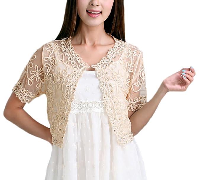 Laisla Fashion Coprispalle Donna Elegante da Cerimonia Sposa Bolero Mode  Giovane Abbigliamento Vintage Manica Corta Trasparente Pizzo con Perla  Sottile ... 2a7c72f00a0c
