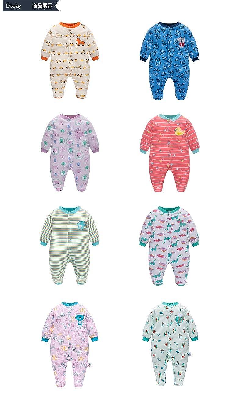 leerjia Toddler Cotton Romper Baby Winter Long Sleeve Footies Rompers