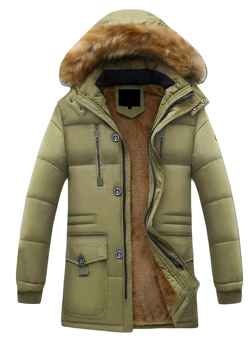 Keaac Mens Hooded Parka Outwear Warm Coats Faux Fur Lined Down Jacket