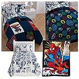 Marvel Comic Heroes 5 Piece Kids Twin Bedding Set - Reversible Comforter, Sheet Set with Reversible Pillowcase and Spiderman Comic Plush Throw Blanket