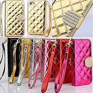 SHOUJIKE Wallet Style Grid Design Pattern PU Full Body Cover with Stand and Card Slot for iPhone 4/4S (Assorted Colors) , Red