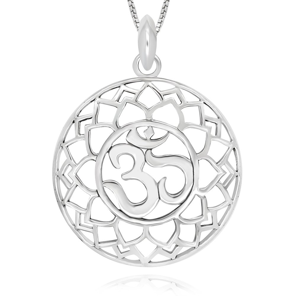 925 Sterling Silver Yoga Om Ohm Pendant Necklace 18 for Women
