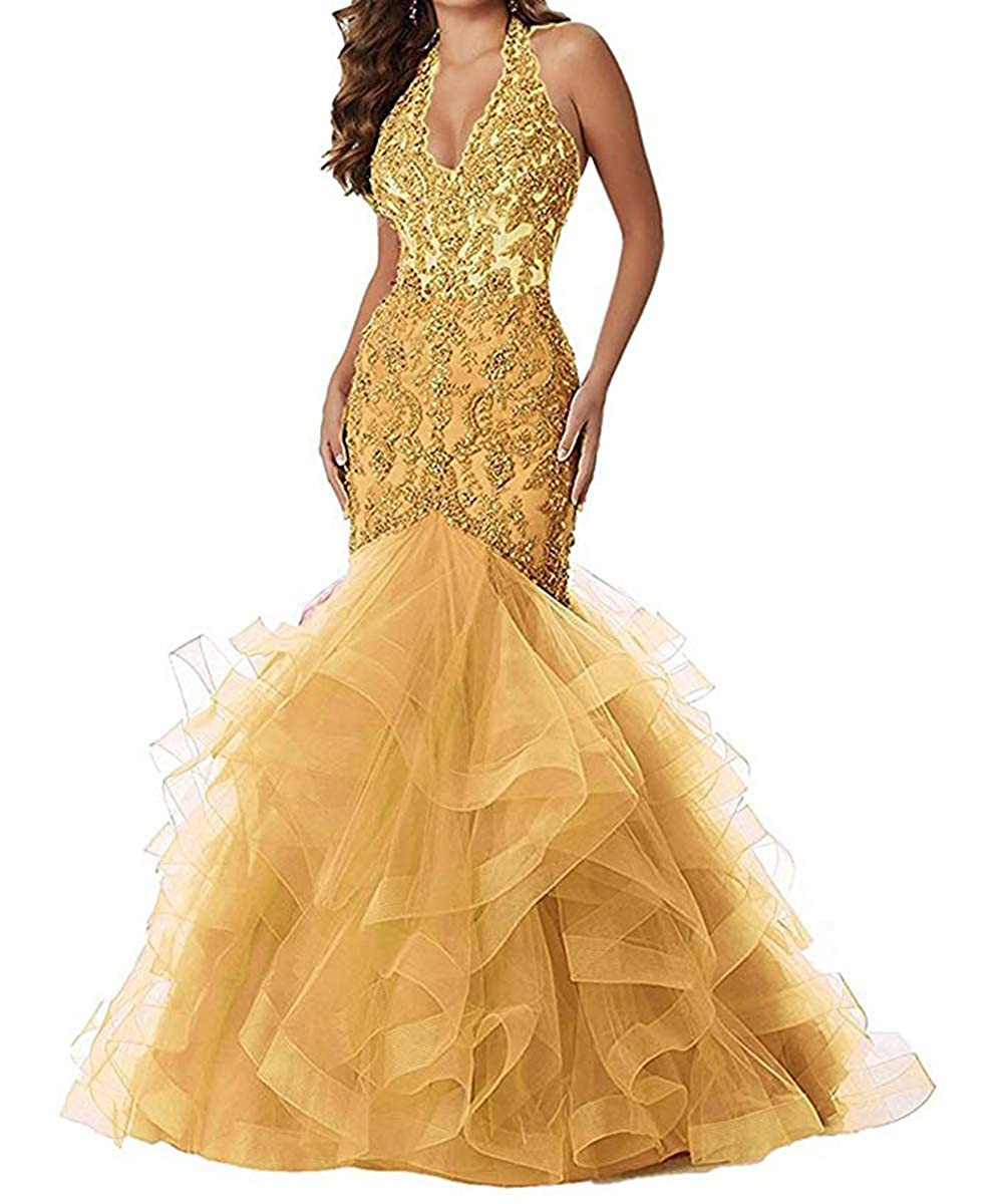 gold Women's Sexy Mermiad Halter Prom Dresses 2019 Long Lace Appliques Ruffles Evening Gowns