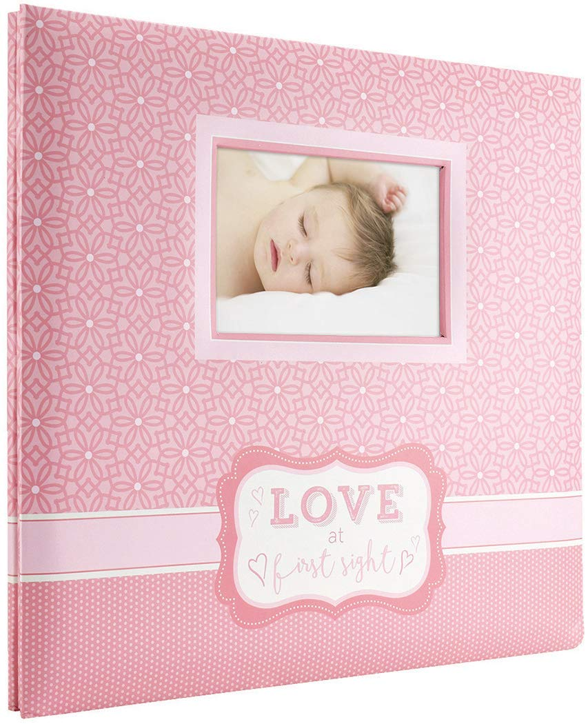 MCS MBI 13.5x12.5 Inch ''Love at First Sight'' Baby Scrapbook Album with 12x12 Inch Pages, Pink (860126)
