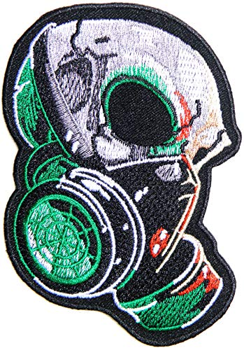 Head Skull Nuclear Biohazard Gas Mask Military Biker Rider Punk Rock Heavy Metal Patch Sew Iron on Embroidered Sign Badge Costume]()